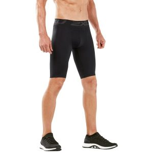 Fitness Mania - 2XU Mens Accelerate Compression Shorts - Black/Silver