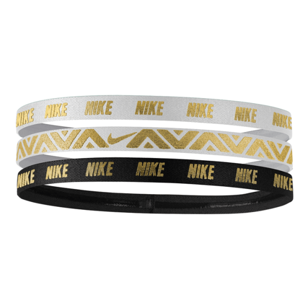 Fitness Mania – Nike Printed Metallic Sports Headbands – Assorted 3 Pack – White/Black/Gold