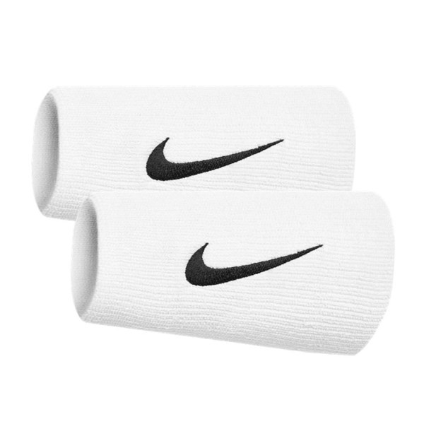 Fitness Mania – Nike Swoosh Doublewide Wristbands – Pair – White/Black