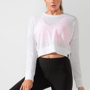 Fitness Mania - Action Mesh Cropped Active Top