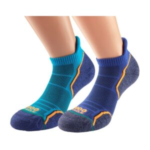 Fitness Mania - 1000 Mile Run Socklet Mens Sports Socks - Twin Pack - Kingfisher Blue & Navy