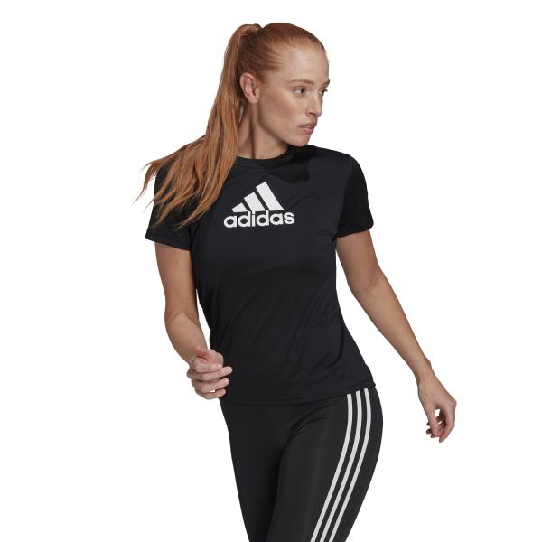 Fitness Mania – Adidas Designed 2 Move Logo Womens Training T-Shirt – Black/White
