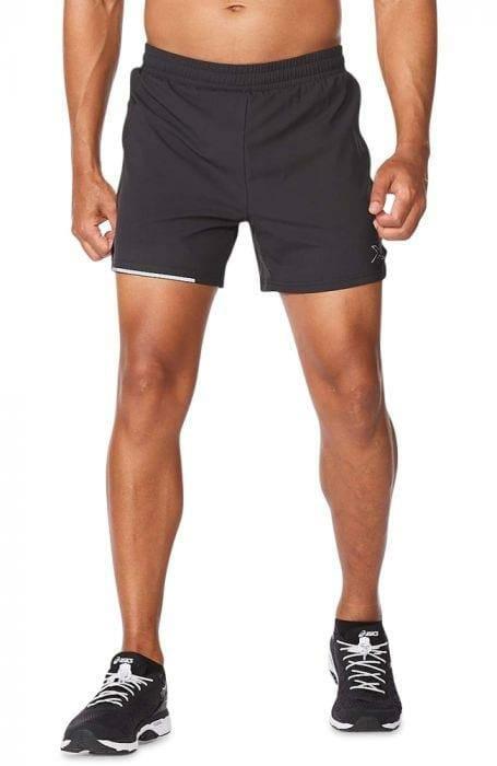 Fitness Mania – 2Xu Aero 5 Inch Shorts Mens Black Silver Reflective