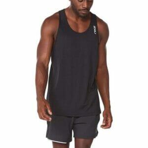 Fitness Mania - 2Xu Aero Singlet Mens Black Silver Reflective