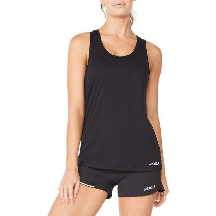 Fitness Mania – 2Xu Aero Singlet Womens Black Silver Reflective