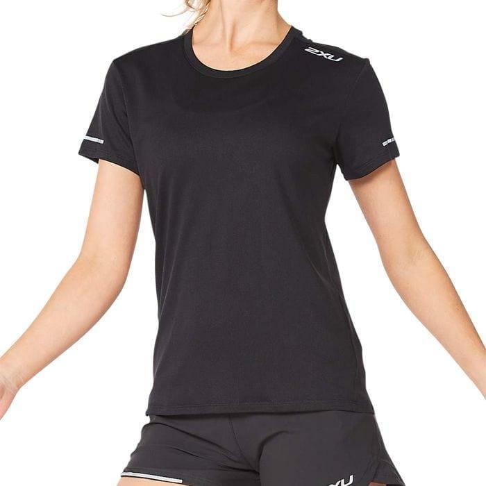 Fitness Mania – 2Xu Aero Tee Womens Black Silver Reflective
