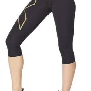 Fitness Mania - 2Xu Light Speed Mid-Rise Compression 3/4 Tight Womens Black Gold Reflective