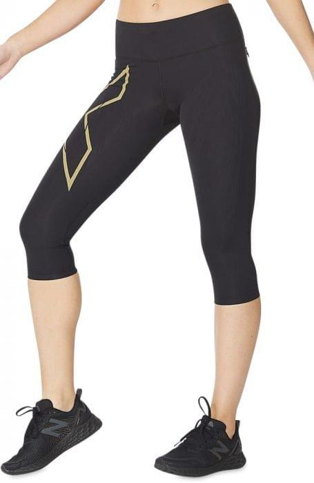 Fitness Mania – 2Xu Light Speed Mid-Rise Compression 3/4 Tight Womens Black Gold Reflective