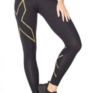 Fitness Mania - 2Xu Light Speed Mid-Rise Compression Tight Womens Black Gold Reflective