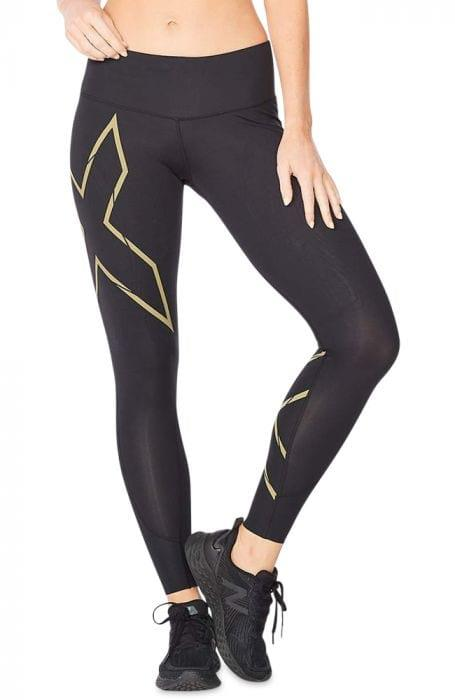 Fitness Mania – 2Xu Light Speed Mid-Rise Compression Tight Womens Black Gold Reflective