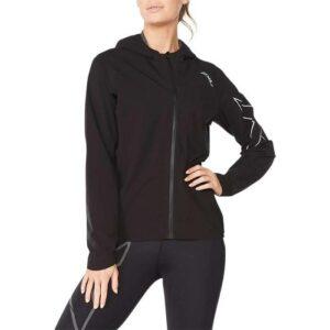 Fitness Mania - 2Xu Light Speed Waterproof Jacket Womens Black Silver Reflective